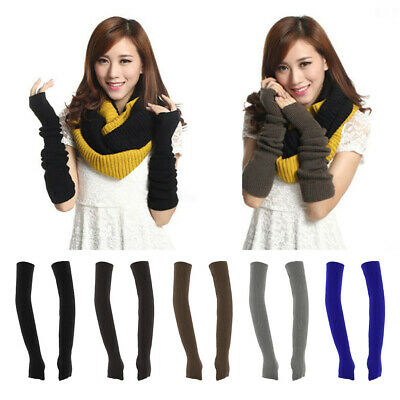 Arm Warmers Half Finger Gloves with Thumb Hole Knitted Waist Hand Mittens