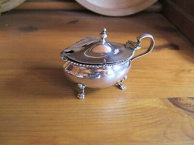 Antique Solid Silver Mustard Pot With Blue Glass Liner..  1870 ??.