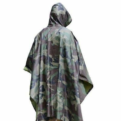 US Military Woodland Camo Ripstop Wet Weather Rain Poncho Camping Hiking Sports