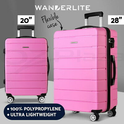Wanderlite Luggage Sets Suitcases 2PC PP TSA Travel Lightweight Hard Case Pink