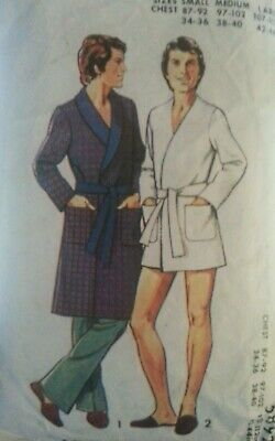 **Vintage Sewing Pattern**Mens Dressing Gown/Robe**Roll Collar**2 Lengths**