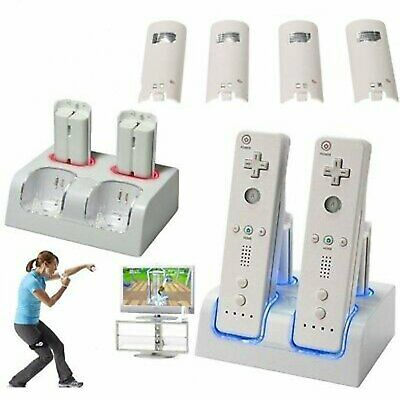 2/4X Rechargeable Battery & Dock Charger Station for Nintendo Wii Remote White
