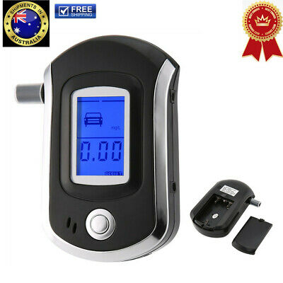 ! Digital Breath Alcohol Tester LCD Breathalyzer Analyzer With 5 Mouthpiece