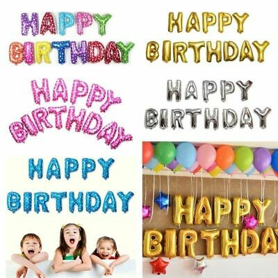 Happy Birthday Banner Balloon Bunting Gold Silver Self Inflating Letters Foil