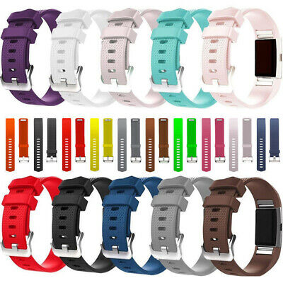 FitBit Charge 2 Silicone Replacement Watch Strap Band Metal Buckle Wristband HOT