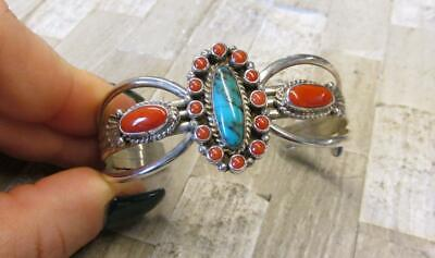 Native American Turquoise & Coral Sterling Silver Cuff Bracelet ~ 10-E8311