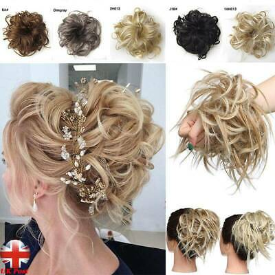 Large Thick Messy Bun Scrunchie Updo Wrap on Hair Extension Hair Piece Blonde UK