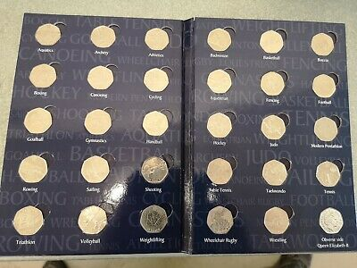 50 Pence Sports Album Full Set Of 2012 London Olympic 50p Coins * Rare *29 coins