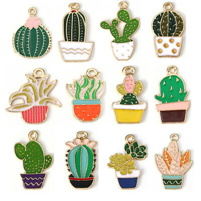 5PC Cactus Potted Plant Enamel Alloy Charms Pendants DIY Crafts Jewelry Findings