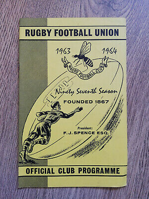 Wasps v Royal Air Force Jan 1964 Rugby Programme