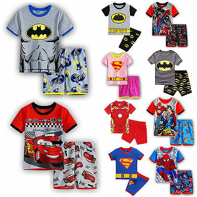 Kids Girls Boys Superhero Short Sleeves Sleepwear Pjs Cartoon Pyjamas Casual Set