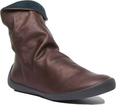 Softinos Womens Soft Leather Ankle Slouch Boots In Dark Brown UK Sizes 3 - 7
