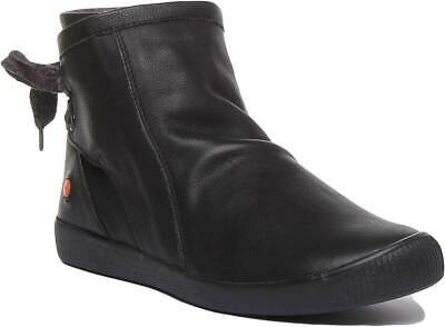 Softinos Womens Soft Leather Ribbon Lace Ankle Boots In Black UK Sizes 3 - 7