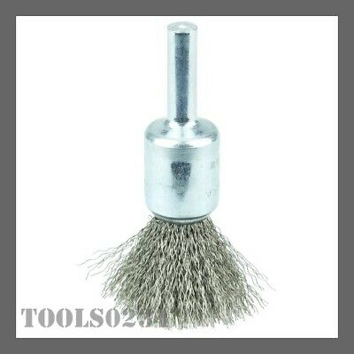 """Weiler 10014 1/2"""" Crimped Wire Cup Brush - .0104"""" - Stnls Steel Fill - 3/4"""" Stem"""