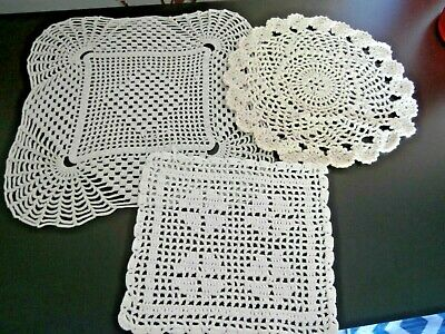 Three Vintage  Cotton Hand Worked Crochet Lace Mats/Doilies ~ Neutral Colours