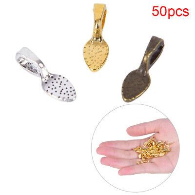 50pcs/set Tibetan Alloy Spoon Glue On Bails Leaf Flat Pad Pendant Bails Tone DIY