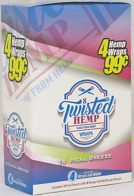 Twisted Hemp Wraps Tropical Breeze 15 Packs 60 Wraps Rolling Papers Full Box