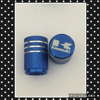 Kawasaki wheel valves pair blue engraved universal dust caps