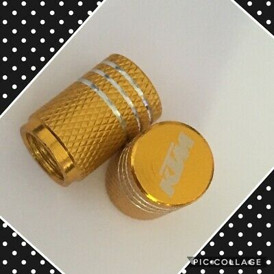 KTM wheel valves pair ktm yellow engraved universal dust caps