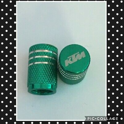 KTM wheel valves pair ktm green engraved universal dust caps