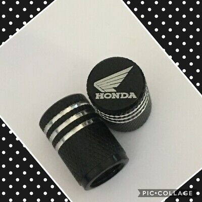 black Honda wheel valves pair motorbike engraved universal dust caps
