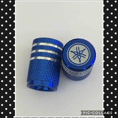 blue Yamaha wheel valves pair motorbike engraved universal dust caps