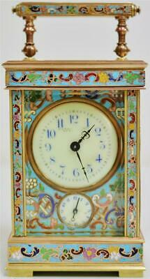 Rare Antique French 8 Day 2 Tone Brass & Champleve Enamel Carriage Alarm Clock