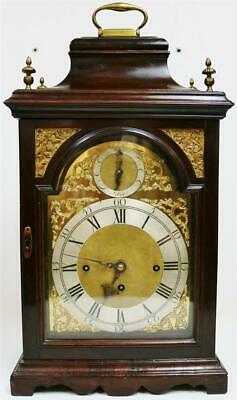 Rare Antique C1770 Mahogany Triple Fusee Musical 8 Bell Bell Top Bracket Clock