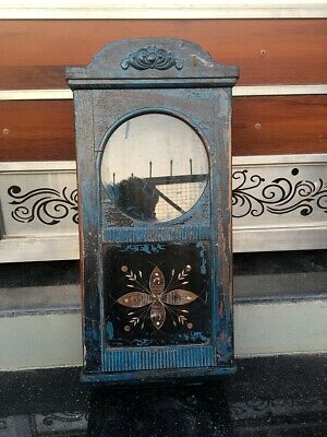 Antique Old Wooden Hand Crafted Blue Painted Wall Hanging Alarm Clock Case Box
