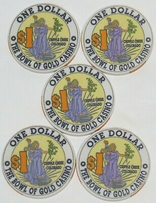 Five Obsolete Cripple Creek, Colorado Bowl of Gold $1 Casino Chips- NR!