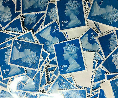 100 x 2nd Class Unfranked Blue Security Stamps Off Paper f/v £61