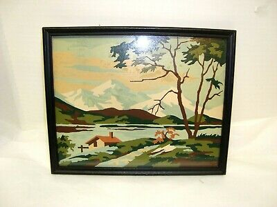 Vintage 10 X 8 Framed Paint By Number Painting Of A Mountain Scene.
