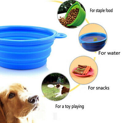 Portable Cat Dog Water cup Travel Collapsible Silicone Foldable Blue Food Bowl
