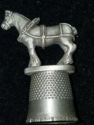 Pewter Sewing Thimble Clydesdale Horse Topper