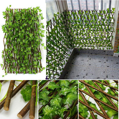 Expandable Artificial Faux Ivy Leaf Hedge Panels On Roll Garden Screen Fence ❤
