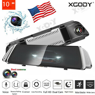 XGODY 10'' Dual Lens HD 1080P Car DVR Recorder Rear View Mirror Camera Dash Cam