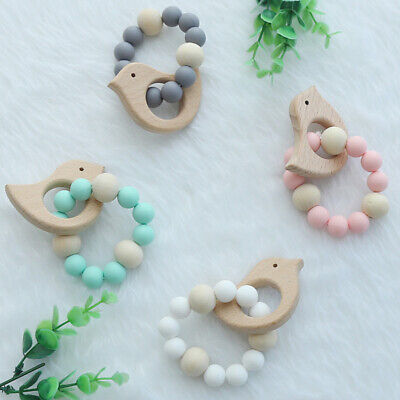 Bird Animal Wooden Teether Baby Chewable Teething Bracelet Silicone Beads Rattle