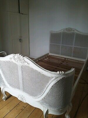 Antique French Louis XV style cane double bed