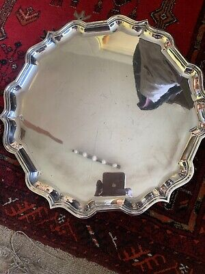 Large Good Heavy Quality Solid Silver Card Tray Salver 1.6kg London 1964