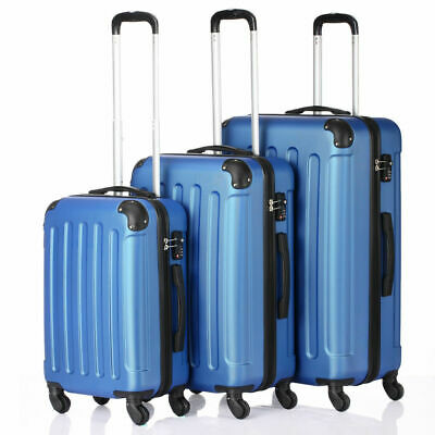 3Pcs Luggage Set PC+ABS Trolley Spinner 20/24/28 Suitcase Hard Shell Blue
