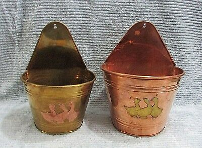 Two India Copper Brass Vintage 1980's Goose Wall Pockets Large Small FREE S/H