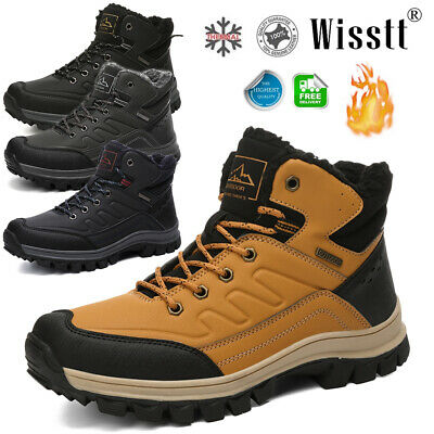 Mens Outdoor Work Boots Winter Leather Boots Lace up Waterproof Snow Ankle Boots