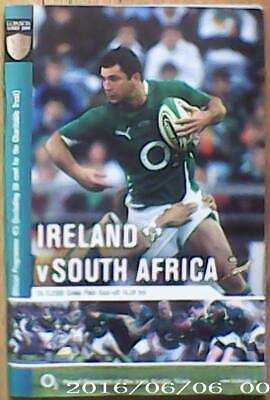 IRELAND v SOUTH AFRICA, NOVEMBER 2009, RUGBY PROGRAMME.