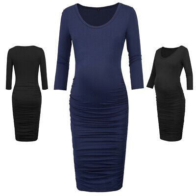 Women's Comfy Maternity Hips-wrapped Dress Round Neck Pregnancy Clothes Bodycon