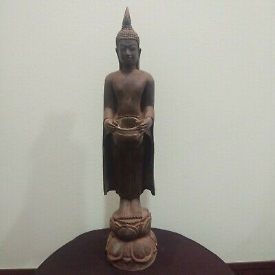 Collectible Antique Thailand Bronze Buddha Statue Alms Bowl Ayutthaya Old Relic
