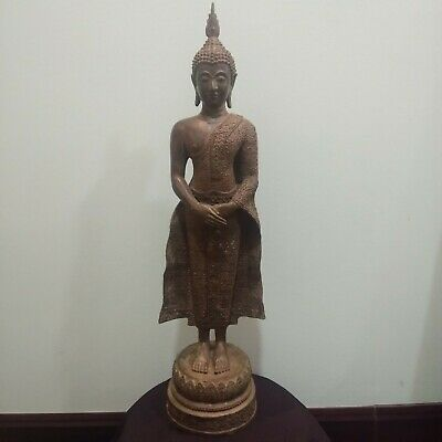 Large Antique Khmer Thai Bronze Buddha Statue Buddhism Ayutthaya 598 mm
