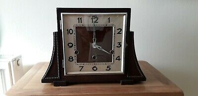 Westminster Chimes 40'S Authentic Working Beautiful Art Deco Mantle Clock & Key