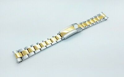 20mm Rolex Watch Stainless Solid Steel Replacement Bracelet Two Tone Gold/Silver