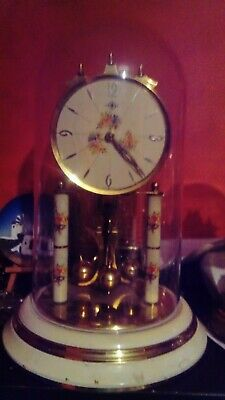 Vintage  large torsion anniversary 400 day wind-up mechanical mantel clock, 30cm