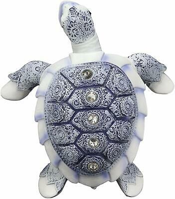 "Ming Terracotta Blue And White Feng Shui Celestial Sea Turtle Statue 7.5""Wide"